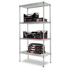 Alera Industrial Heavy-Duty Wire Shelving Starter Kit, 4-Shelf, 36w x 18d x 72h,Silver