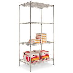 Alera Industrial Heavy Duty Wire Shelving Starter Kit, 4-Shelf, 36w x 24d x 72h,Silver
