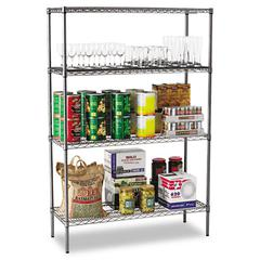 Wire Shelving Starter Kit, Four-Shelf, 48w x 18d x 72h, Black Anthracite