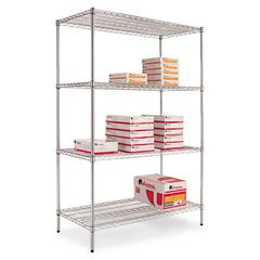 Alera Industrial Heavy-Duty Wire Shelving Starter Kit, 4-Shelf, 48w x 24d x 72h,Silver