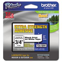 "P-Touch TZe Extra-Strength Adhesive Laminated Labeling Tape, 3/4""w, Black on White"