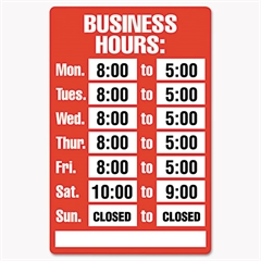 Cosco Business Hours Sign Kit, 15 x 19, Red