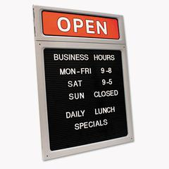 Cosco Message/Business Hours Sign, 15 x 20 1/2, Black/Red
