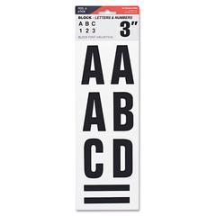 "Letters, Numbers & Symbols, Adhesive, 3"", Black"