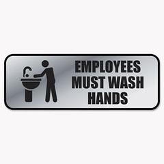 Cosco Brushed Metal Office Sign, Employees Must Wash Hands, 9 x 3, Silver