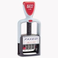 """Two-Color Word Dater, 1 3/4 x 1, """"Faxed,"""" Self-Inking, Blue/Red"""