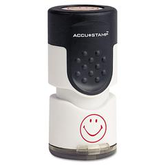 "ACCUSTAMP Accustamp Pre-Inked Round Stamp with Microban, Smiley, 5/8"" dia., Red"