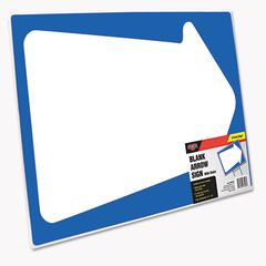 Cosco Stake Sign, Blank White with Printed Blue Arrow, 15 x 19