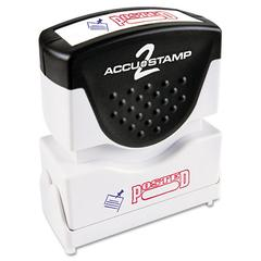 ACCUSTAMP Pre-Inked Shutter Stamp with Microban, Red/Blue, POSTED, 1 5/8 x 1/2