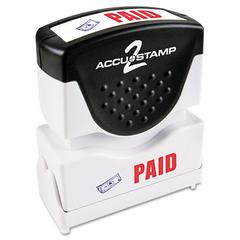 ACCUSTAMP Pre-Inked Shutter Stamp with Microban, Red/Blue, PAID, 1 5/8 x 1/2