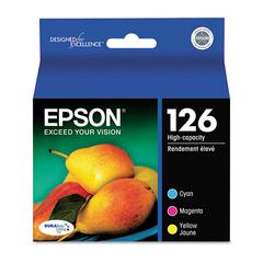 Epson T126520 (126) DURABrite Ultra High-Yield Ink, Cyan/Magenta/Yellow, 3/PK