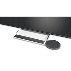 Underdesk Keyboard Tray with Oval Mouse Platform, Black