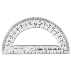 "Open Center Protractor, Plastic, 6"" Ruler Edge, Clear, Dozen"