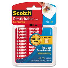 "Restickable Mounting Tabs, 1"" x 1"", Clear, 27/Pack"