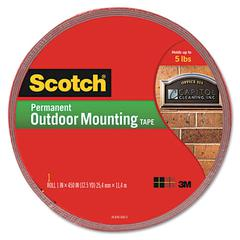"Exterior Weather-Resistant Double-Sided Tape, 1"" x 450"", Gray"