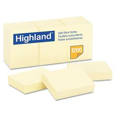 Self-Stick Notes, 1 1/2 x 2, Yellow, 100-Sheet, 12/Pack