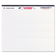 Roaring Spring WIDE Landscape Format Writing Pad, College Ruled, 11 x 9 1/2, White, 40 Sheets