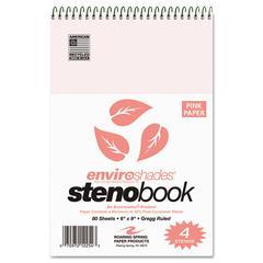 Roaring Spring Enviroshades Steno Notebook, Gregg, 6 x 9, Pink, 80 Sheets, 4/Pack