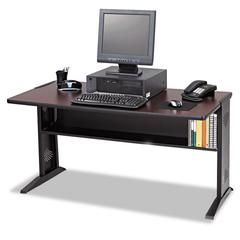 Safco Computer Desk W/ Reversible Top, 47-1/2w x 28d x 30h, Mahogany/Medium Oak/Black