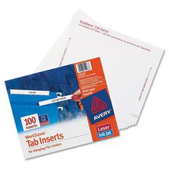 Laser/Inkjet Hanging File Folder Inserts, 1/3 Tab, 3 1/2, White, 100/Pack