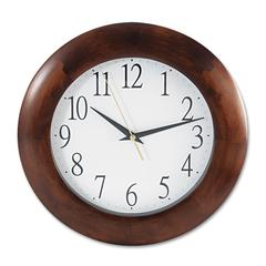 "Universal Round Wood Clock, 12 3/4"", Cherry"