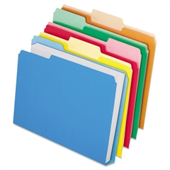 Pendaflex CutLess/WaterShed/Double Stuff File Folders, 1/3 Cut, Assorted, Letter, 50/BX