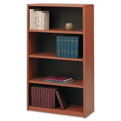 Safco Value Mate Series Metal Bookcase, Four-Shelf, 31-3/4w x 13-1/2d x 54h, Cherry