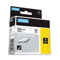 "Rhino Heat Shrink Tubes Industrial Label Tape, 1/4"" x 5 ft, White/Black Print"