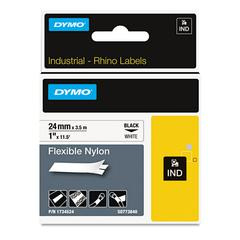 "Rhino Flexible Nylon Industrial Label Tape, 1"" x 11 1/2 ft, White/Black Print"