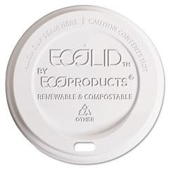 EcoLid Renewable & Compostable Hot Cup Lids, Fits 8oz Hot Cups, 50/PK, 16 PK/CT