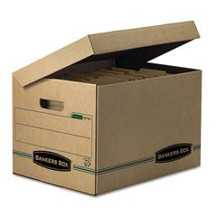 STOR/FILE Storage Box, Letter/Legal, Attached Lid, Kraft/Green, 12/Carton