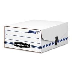 Bankers Box LIBERTY Binder-Pak Storage Box, Letter, Snap Fastener, White/Blue