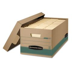 Bankers Box STOR/FILE Extra Strength Storage Box, Letter, Lift-Off Lid, Kft/Green, 12/Carton