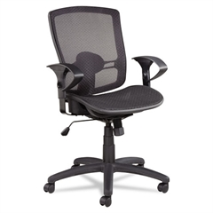 Etros Series Mesh Mid-Back Synchro Tilt Chair, Mesh Back/Seat, Black