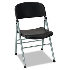 Endura Series Molded Folding Chair, Platinum Frame/Black Back/Seat, 4/Carton