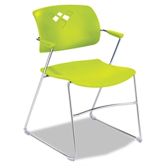 Safco Veer Series Stacking Chair With Arms, Sled Base, Grass/Chrome, 4/Carton