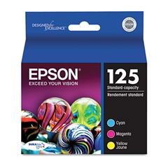 Epson T125520 (125) DURABrite Ultra Ink, Cyan/Magenta/Yellow, 3/PK
