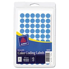 "Handwrite Only Removable Round Color-Coding Labels, 1/2"" dia, Light Blue, 840/PK"