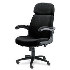 Big & Tall Series Executive Pivot-Arm Chair, Acrylic/Poly Blend Fabric, Black