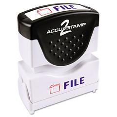 ACCUSTAMP Pre-Inked Shutter Stamp with Microban, Red/Blue, FILE, 1 5/8 x 1/2