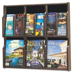 Safco Expose Adj Magazine/Pamphlet Six Pocket Display, 29-3/4w x 26-1/4h, Mahogany