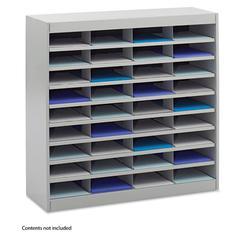 Safco Steel/Fiberboard E-Z Stor Sorter, 36 Sections, 37 1/2 x 12 3/4 x 36 1/2, Gray