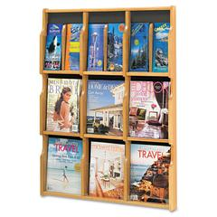 Expose Adj Magazine/Pamphlet Nine Pocket Display, 29-3/4w x 38-1/4h, Medium Oak