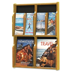 Expose Adj Magazine/Pamphlet Four Pocket Display, 20w x 26-1/4h, Medium Oak