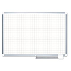 "Grid Planning Board, 1"" Grid, 72 x 48, White/Silver"