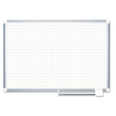 "Planning Board, 1"" Grid, 48x36, White/Silver"