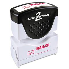 ACCUSTAMP Pre-Inked Shutter Stamp with Microban, Red, MAILED, 1 5/8 x 1/2