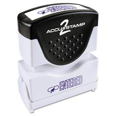 ACCUSTAMP Pre-Inked Shutter Stamp with Microban, Blue, ENTERED, 1 5/8 x 1/2
