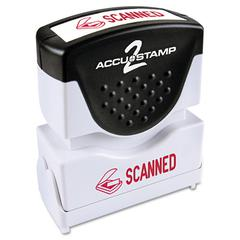 ACCUSTAMP Pre-Inked Shutter Stamp with Microban, Red, SCANNED, 1 5/8 x 1/2