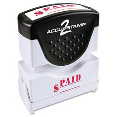 ACCUSTAMP Pre-Inked Shutter Stamp with Microban, Red, PAID, 1 5/8 x 1/2